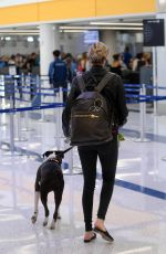 KATE UPTON and Her Dog at LAX Airport in Los Angeles 04/22/2018