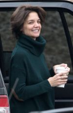 KATIE HOLMES Arrives on the Set of New Fox FBI Drama in Chicago 04/06/2018