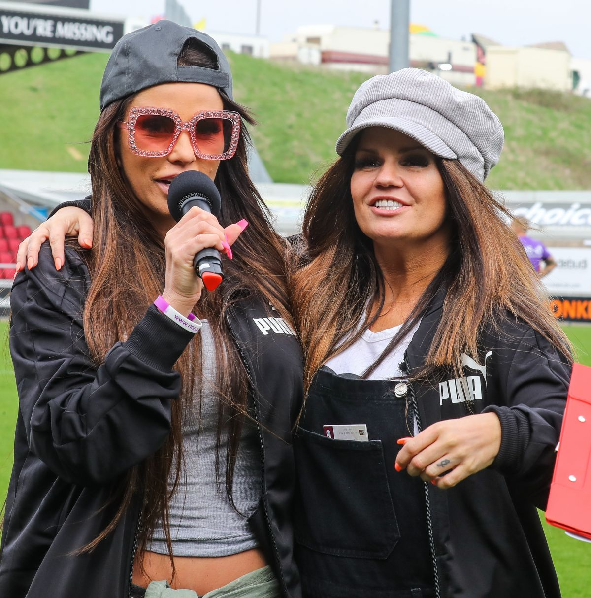 katie price and kerry katona at cellebrity soccer match at sixfields