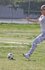 KENDRA WILKINSON at a Soccer Game in Los Angeles 04/15/2018