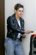 KRISTEN STEWART in Biker Leather Jacket Out in Los Angeles 04/20/2018