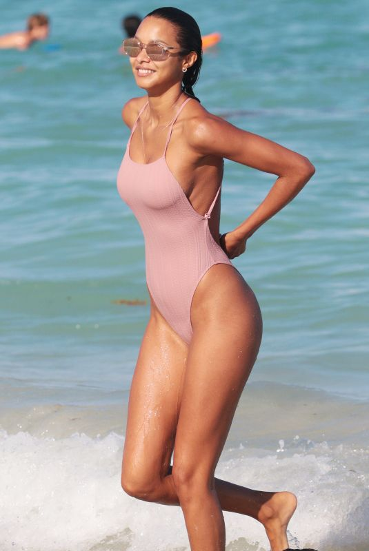 LAIS RIBEIRO in Swinsuit at a Beach in Miami 04/03/2018