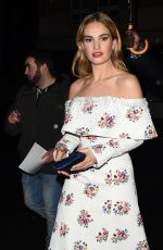LILY JAMES Arrives at Little House in Mayfair 04/09/2018