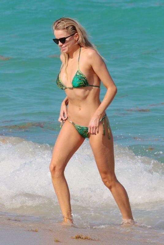 LOUISA WARWICK in a Green Bikini at a Beach in Miami 04/13/2018