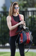LUCY HALE Heading and Leaves a Gym in Los Angeles 04/03/2018