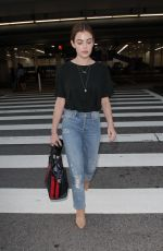 LUCY HALE in Jeans at LAX Airport in Los Angeles 04/19/2018