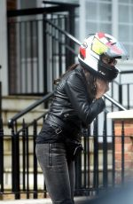 MELANIE SYKES Getting off Her Taxi Bike 04/26/2018