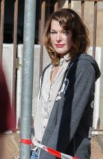 MILLA JOVOVIC on the Set of Paradise Hills in Barcelona 04/18/2018