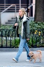 NAOMI WATTS Out with Her Dog in New York 04/23/2018