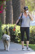 NICOLLETTE SHERIDAN Walks Her Dog Out in Calabasas 04/14/2018