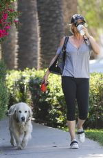 NICOLLETTE SHERIDAN Walks Her Dog Out in Calabasas 04/14/2018