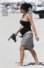 Pregnant ALEXANDRA RODRIGUEZ on the Beach in Miami 04/01/2018