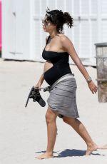 Pregnant ALEXANDRA RODRIGUEZ on the Beach in Miami 04/01/2018