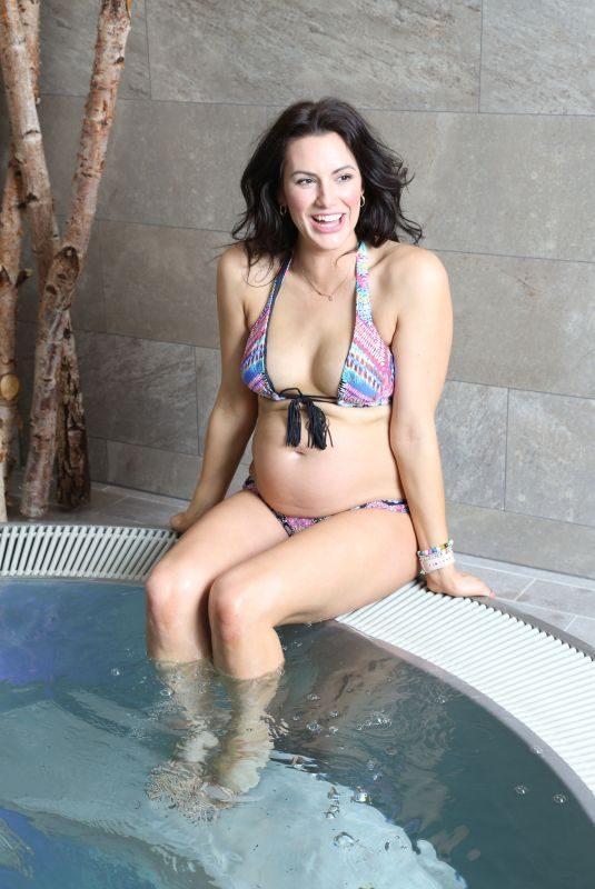 Pregnant JESSICA CUNNINGHAM in Bikini at a Spa in Tring 04/21/2018