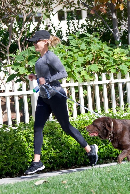 REESE WITHERSPOON Out with Her Dog in Los Angeles 04/15/2018