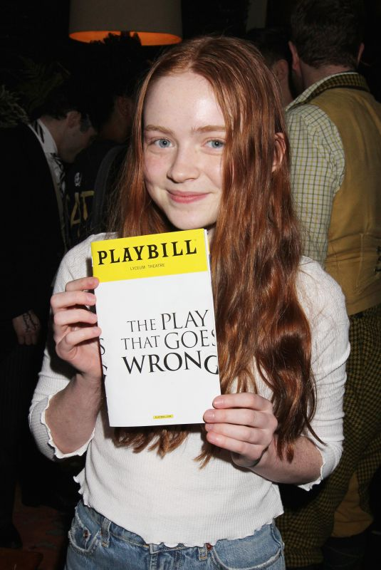SADIE SINK on the Backstage of The Play That Goes Wrong on Broadway in New York 03/31/2018