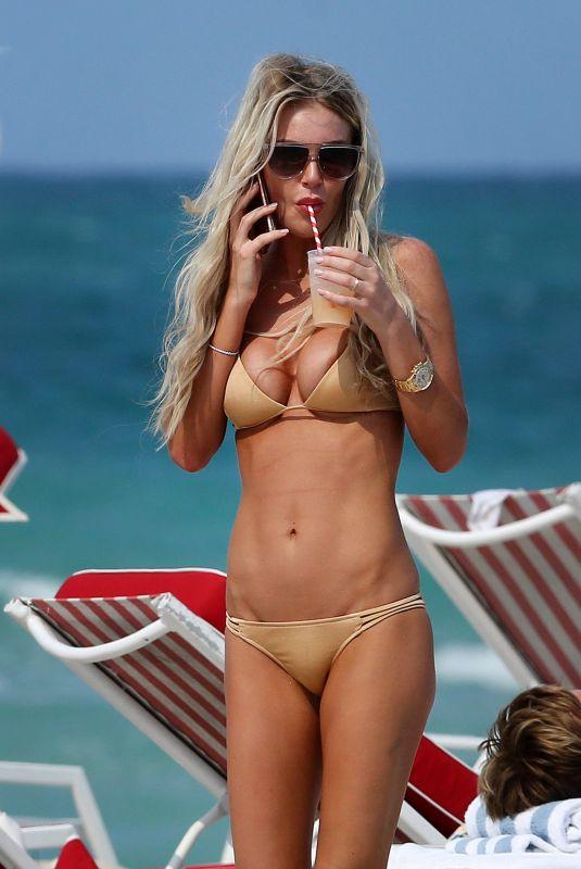 SAMANTHA ROWLSEY in Bikini at a Beach in Miami 04/05/2018