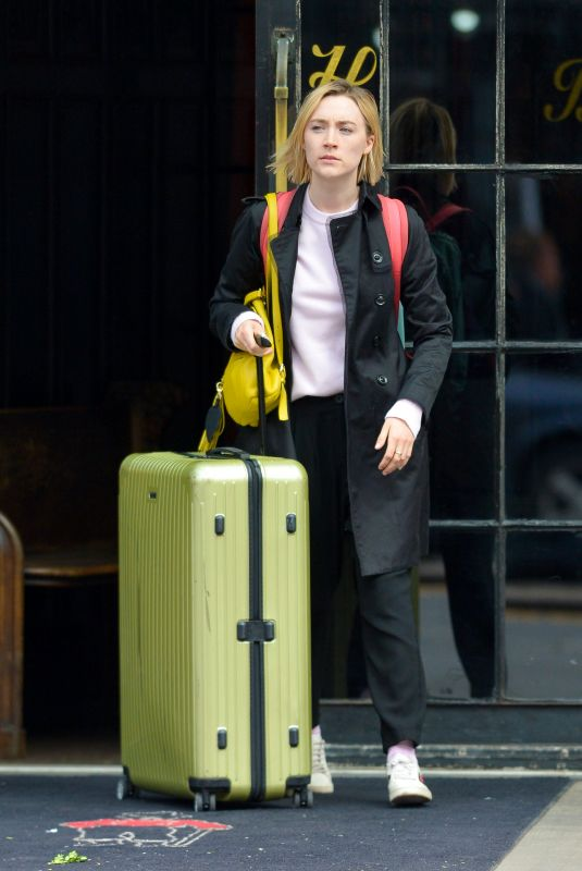 SAOIRSE RONAN Leaves Her Hotel in New York 04/24/2018