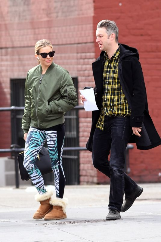 SIENNA MILLER and Peter Scanavino Out for Coffee in New York 04/19/2018
