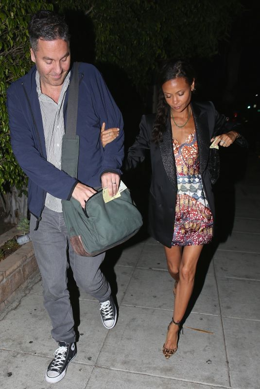THANDIE NEWTON and Ol Parker Out for Dinner in Beverly Hills 04/26/2018