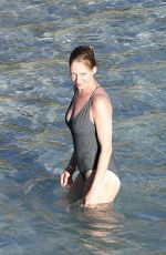 UMA THURMAN in Swimsuit at a Beach in St Barts 04/02/2018