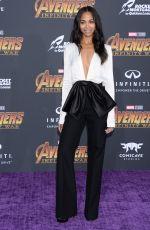 ZOE SALDANA at Avengers: Infinity War Premiere in Los Angeles 04/23/2018