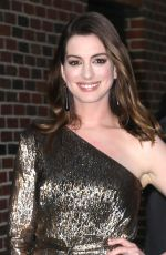ANNE HATHAWAY at Late Show with Stephen Colbert in New York 05/23/2018
