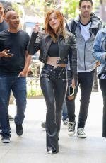 BELLA THORNE All in Black Leather Out in New York 05/23/2018