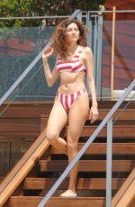BLANCA BLANCO in Red and White Striped Bikini on the Beach in Malibu 05/08/2018