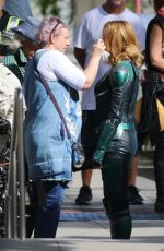BRIE LARSON on the Set of Captain Marvel in Los Angeles 05/09/2018