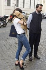 CATRINEL MARLON Out with Her Dog in Rome 05/28/2018