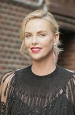 CHARLIZE THERON Arrives at Stephen Colbert Show in New York 05/03/2018