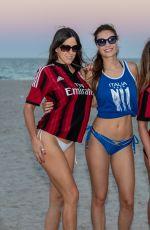 CLAUDIA ROMANI, LAURA BRAGATO and JULIA PEREIRA in Soccer Jerseys and Bikini Bottom at a Beach in Miami 05/08/2018