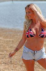DANIELLE MASON in Bikini Top at Chalkwell Beach in Essex 05/21/2018