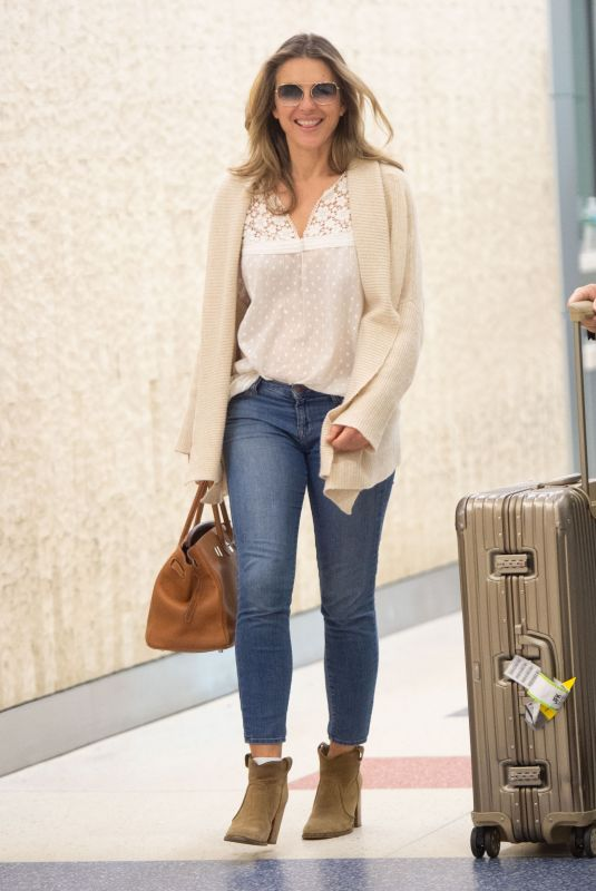 ELIZABETH HURLEY at JFK Airport in New York 05/16/2018