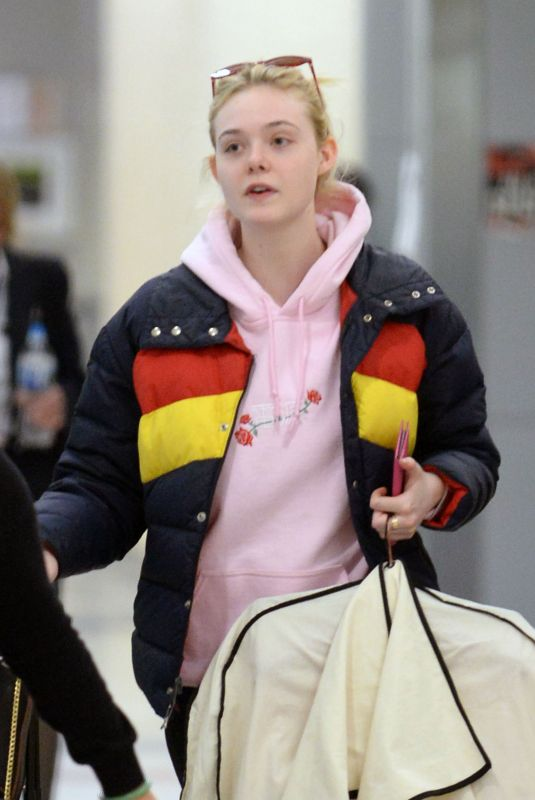 ELLE FANNING at JFK Airport in New York 05/03/2018