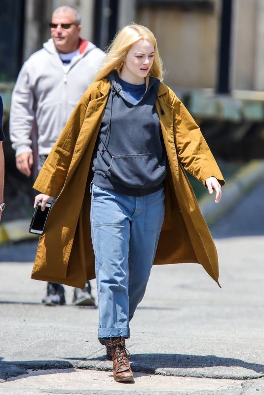 EMMA STONE on The Set of Maniac in New York 05/09/2019