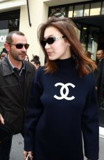 GIGI and BELLA HADID Leaves Chanel Headquarters in Paris 05/02/2018