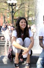 GINA RODRIGUEZ and Lakeith Stanfield Shooting a Kissing Scene on the Set of Someone Great 05/03/2018