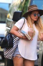 HILARY DUFF in Denim Shorts Leaves Her Apartment in New York 05/24/2018