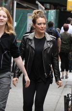 HILARY DUFF in Studded Leather Jacket on the Set of Younger in New York 05/23/2018