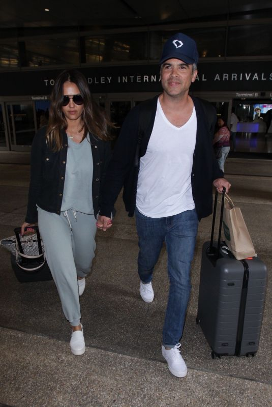 JESSICA ALBA and Cash Warren at Los Angeles International Airport 05/02/2018