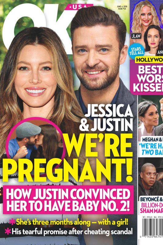 JESSICA BIELA and Justin Timberlake in OK Magazine, June 2018