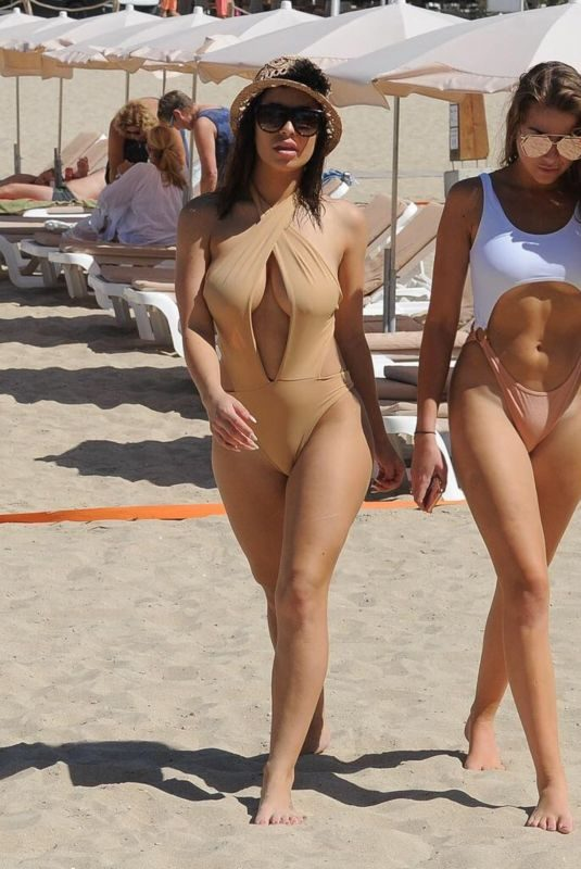 KATIE SALMON and INDIA JENNINGS in Bikinis at a Beach in Marbella 04/24/2018