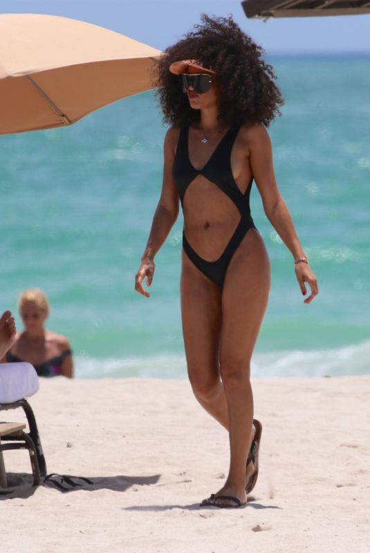 LEILA DEPINA in Cutout Swimsuit at a Beach in Miami 05/24/2018