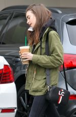 LILY COLLINS at Starbucks in West Hollywood 05/19/2018