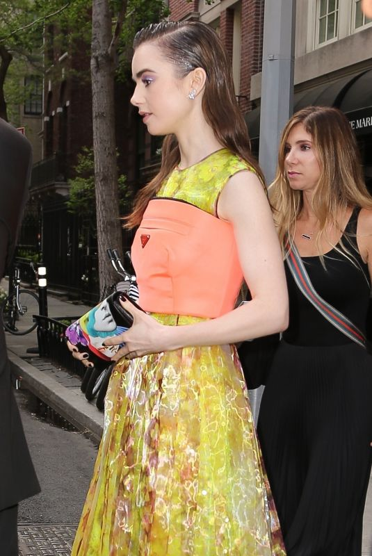 LILY COLLINS Out and About in New York 05/09/2018