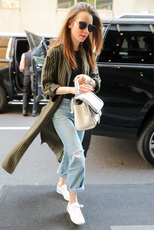 LILY COLLINS Out in New York 05/03/2018