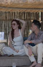 LINDSAY LOHAN at a Beach Bar in Mykonos 05/26/2018