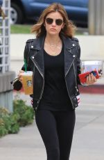 LUCY HALE Leaves Starbucks in Los Angeles 05/22/2018